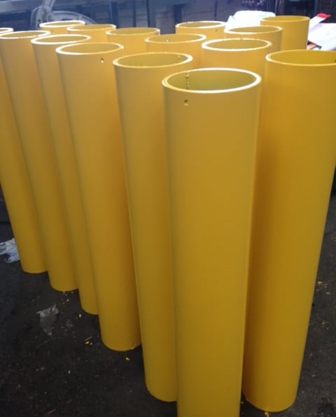 Yellow Circular Hollow Section Steel Bollards